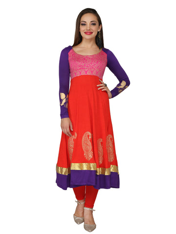 Ira Soleil Pink & Red Block Printed Viscose Knitted Stretchable long sleeves Women's Anarkali Kurti