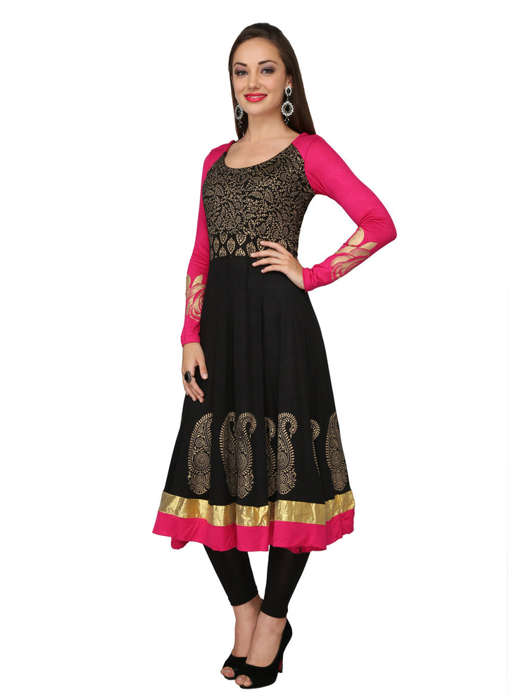 Ira Soleil Black & Pink Block Printed Viscose Knitted Stretchable long sleeves Women's Anarkali Kurti - Ira Soleil