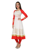 Ira Soleil White & Red Block Printed Viscose Knitted Stretchable long sleeves Women's Anarkali Kurti