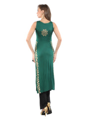 Ira Soleil Green Block Printed Viscose Knitted Stretchable Long Slit sleeveless Women's Long Kurti - Ira Soleil