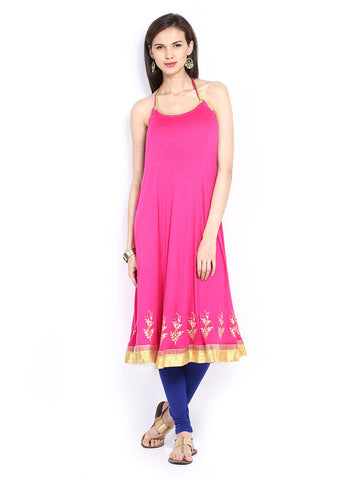 Ira Soleil Pink Block Printed Viscose Knitted Stretchable halter neck Women's Anarkali Kurti