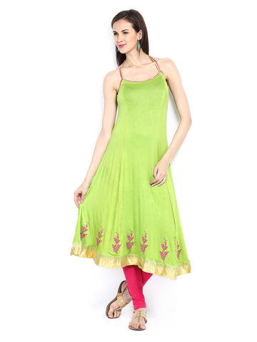 Ira Soleil Green Block Printed Viscose Knitted Stretchable halter neck Women's Anarkali Kurti