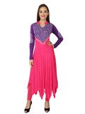 Ira Soleil Pink & purple Block Printed Viscose Knitted Stretchable long Sleeves Women's Anarkali Kurti