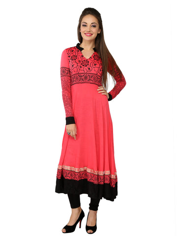 Ira Soleil Pink & black Viscose Knitted Stretchable long Sleeves Women's Anarkali Kurti