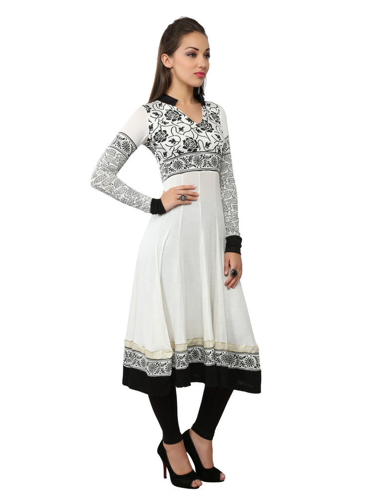 Ira Soleil White & black Viscose Knitted Stretchable long Sleeves Women's Anarkali Kurti - Ira Soleil