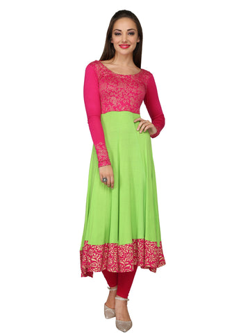 Ira Soleil Pink & Lime Green Block Printed Viscose Knitted Stretchable long Sleeves Women's Anarkali Kurti