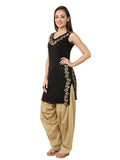 Ira Soleil Black Block Printed Viscose Knitted Stretchable Sleevless Women's Short Kurti
