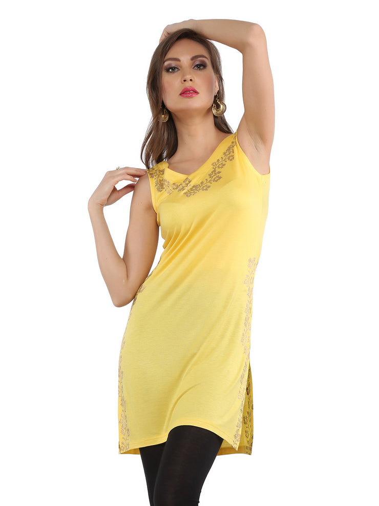 Ira Soleil Mustard Yellow Block Printed Viscose Knitted Stretchable Sleevless Women's Short Kurti - Ira Soleil