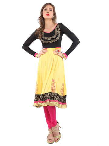 Ira Soleil Yellow & Black Block Printed Viscose Knitted Stretchable Long Sleeves Anarkali Women's Kurti