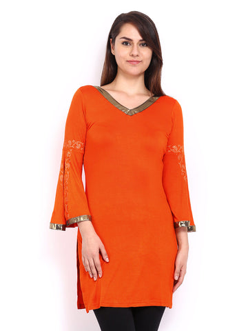 Ira Soleil Orange Block Printed Viscose Knitted Stretchable 3/4 Sleeves with slit Women's Short Kurti