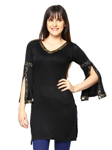 Ira Soleil Black Block Printed Viscose Knitted Stretchable 3/4 Sleeves with slit Women's Short Kurti