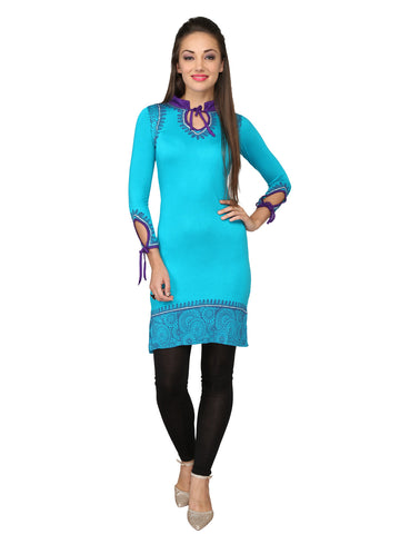Ira Soleil Blue Block Printed Viscose Knitted Stretchable 3/4 Sleeves Women's short Kurti
