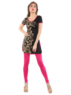 Ira Soleil Black with Gold block printed Viscose Knitted Stretchable Cap sleeves Women's short Kurti