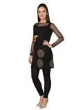 Ira Soleil Black printed Viscose Knitted Stretchable 3/4 net sleeves Women's short Kurti