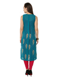Ira Soleil 2 peice Set of Viscose knitted Pink Inner with Green Georgette block printed Women's long Kurti