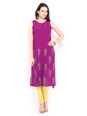 Ira Soleil 2 peice Set of Viscose knitted Red Inner with Pink Georgette block printed Women's long Kurti