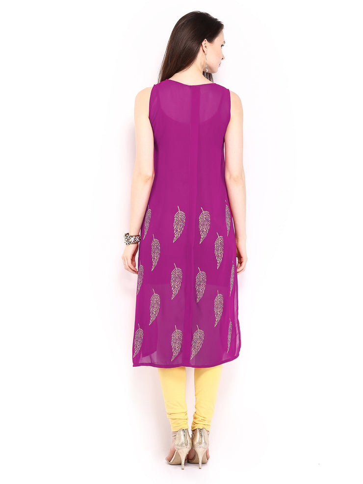 Ira Soleil 2 peice Set of Viscose knitted Red Inner with Pink Georgette block printed Women's long Kurti - Ira Soleil