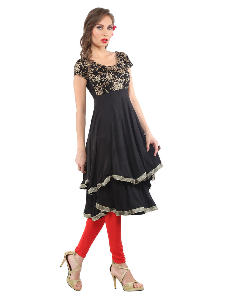 Ira Soleil Black block printed double layred Viscose Knitted Stretchable Cap sleeves women's Anarkali Kurti - Ira Soleil