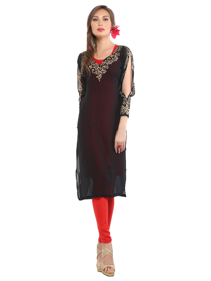 Ira Soleil 2 pc Set of Viscose knitted Stretchable Red Inner with black Georgette block printed Women's long Kurti - Ira Soleil