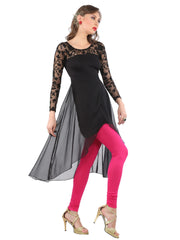 Black embroidered net and poly chiffon high-low long sleeves kurti - Ira Soleil