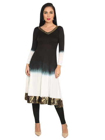 Ira Soleil White & Black dip dyed with copper lace Viscose knitted Stretchable long sleeves Women's Anarkali Kurti