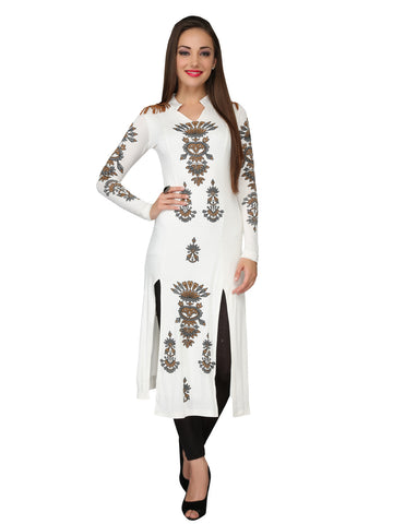 Ira Soleil Off-white printed Viscose knitted Stretchable long sleeves women's long Kurti