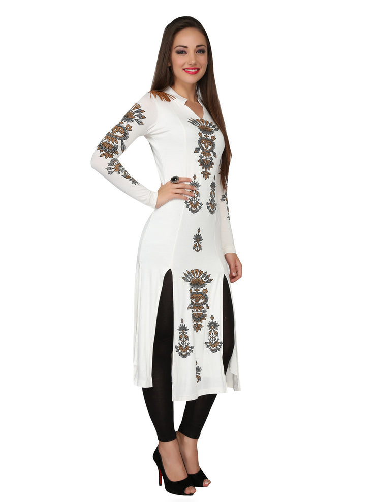 Ira Soleil Off-white printed Viscose knitted Stretchable long sleeves women's long Kurti - Ira Soleil