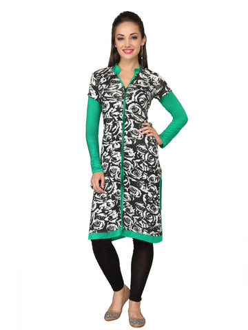 Ira Soleil White & Green Printed Viscose knitted Stretchable long sleeves women's long Kurti