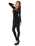 Ira Soleil Black Georgette with Viscose inner long Sleeves Women's short Kurti