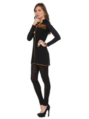Ira Soleil Black Georgette with Viscose inner long Sleeves Women's short Kurti - Ira Soleil