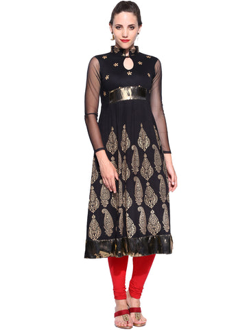 Ira Soleil Black block printed Viscose Knitted Stretchable long sleeves women's Anarkali Kurti