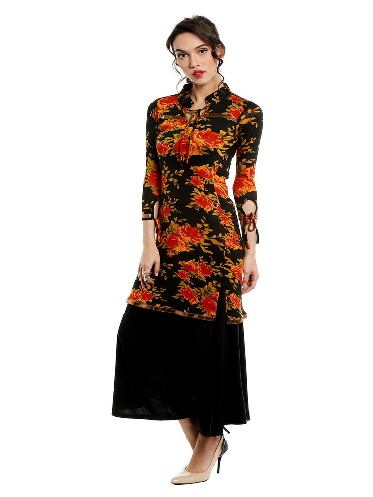 Viscose stretched all over flower print kurti with gold lace - Ira Soleil