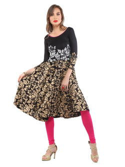 2Pcs set of Jewelery with black floral Printed viscose knitted Kurti - Ira Soleil