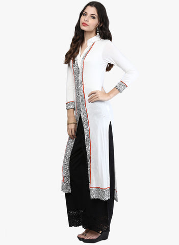 Ira Soleil White Abstract Printed Polyester knitted Stretchable Semi lined 3/4 sleeves Women's long Kurti