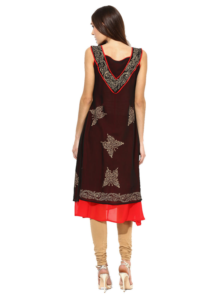 Ira Soleil Black Double Layered Georgette Gold Printed sleeveless Women's Kurti - Ira Soleil