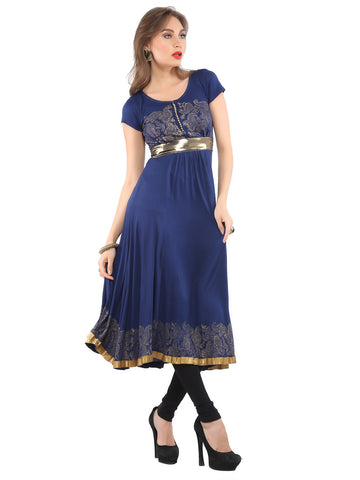 Ira Soleil Blue Printed Viscose Knitted Stretchable cap sleeves Women's Anarkali Kurti
