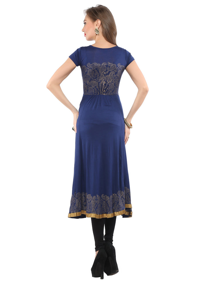 Ira Soleil Blue Printed Viscose Knitted Stretchable cap sleeves Women's Anarkali Kurti - Ira Soleil
