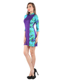 Ira Soleil Purple Printed Viscose Knitted Stretchable long sleeves Women's short Kurti