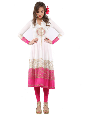 Ira Soleil White & Pink Block Printed Viscose Knitted Stretchable long sleeves Women's long anarkali Kurti