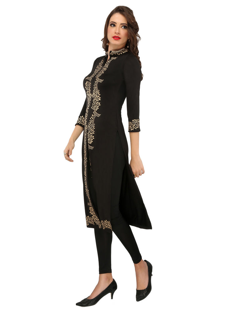 Black block printed polyester knitted stretchable 3-4 sleeves womens long kurti - Ira Soleil