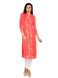 ira-soleil-pink-block-printed-polyester-knitted-stretchable-3-4-sleeves-womens-long-kurti