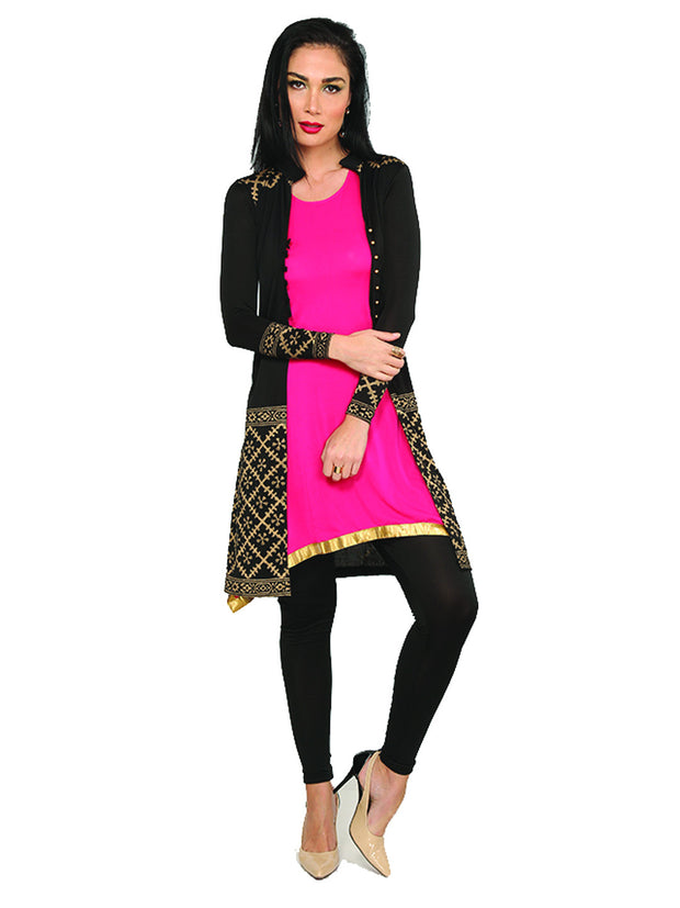 3pcs set of jewelry, block printed jacket and stretchable short kurti. - Ira Soleil