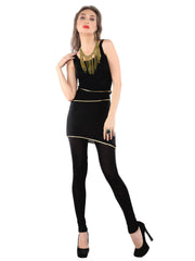 Black viscose knitted stretchable multi layered sleeveless womens short kurti - Ira Soleil