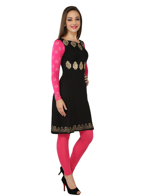 Black with pink long sleeves viscose knitted stretchable block printed womens regular kurti - Ira Soleil