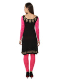 ira-soleil-black-with-pink-long-sleeves-viscose-knitted-stretchable-block-printed-womens-regular-kurti