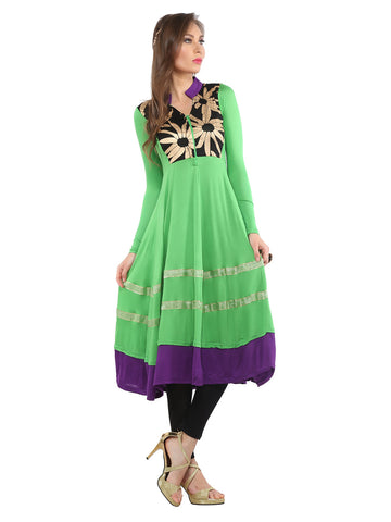 ira-soleil-green-viscose-knitted-stretchable-block-printed-long-sleeves-womens-anarkali-kurti