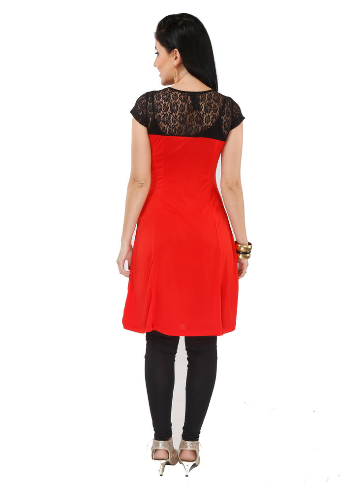 Red polyester knitted kurti - Ira Soleil