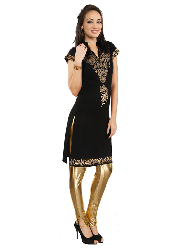 Womens ethnic polyester knitted black kurta kurti