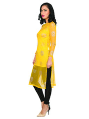 2pcs set of block printed net kurti and matching inner slip - Ira Soleil