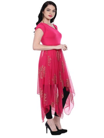 ira-soleil-pink-long-a-symetrical-hem-kurti-with-copper-print-on-net